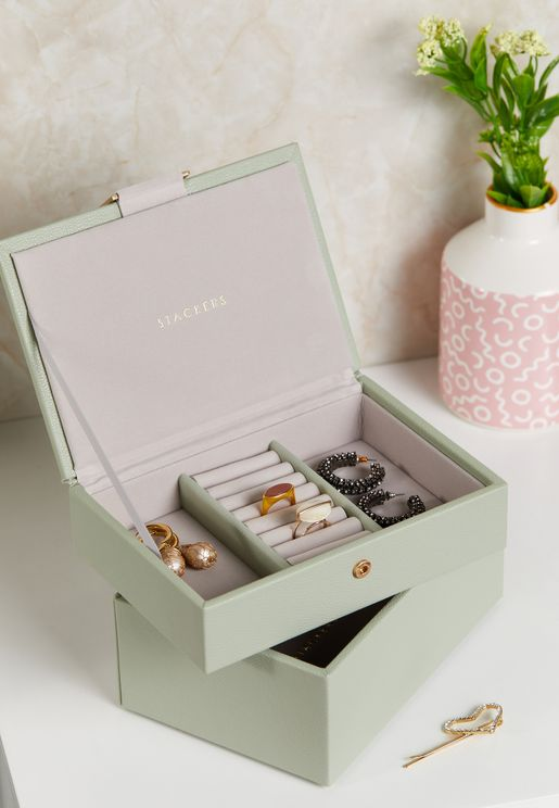 Sage Green Mini 2 Layer Jewellery Box