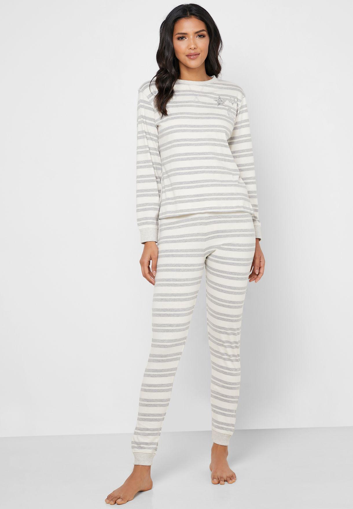 Striped Top & Pyjama Set