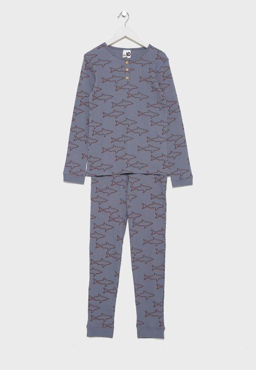 Kids Shark Print Pyjama Set