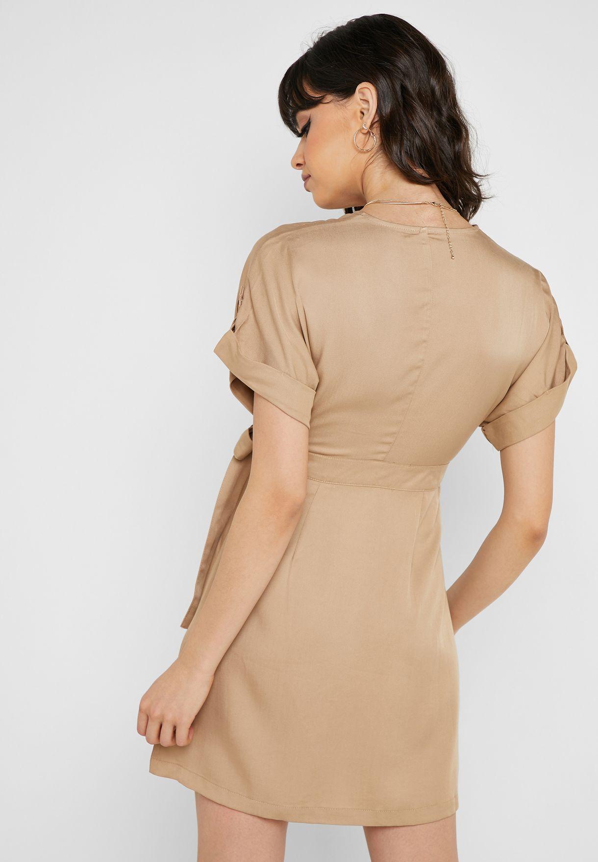 Roll Sleeve Wrap Dress