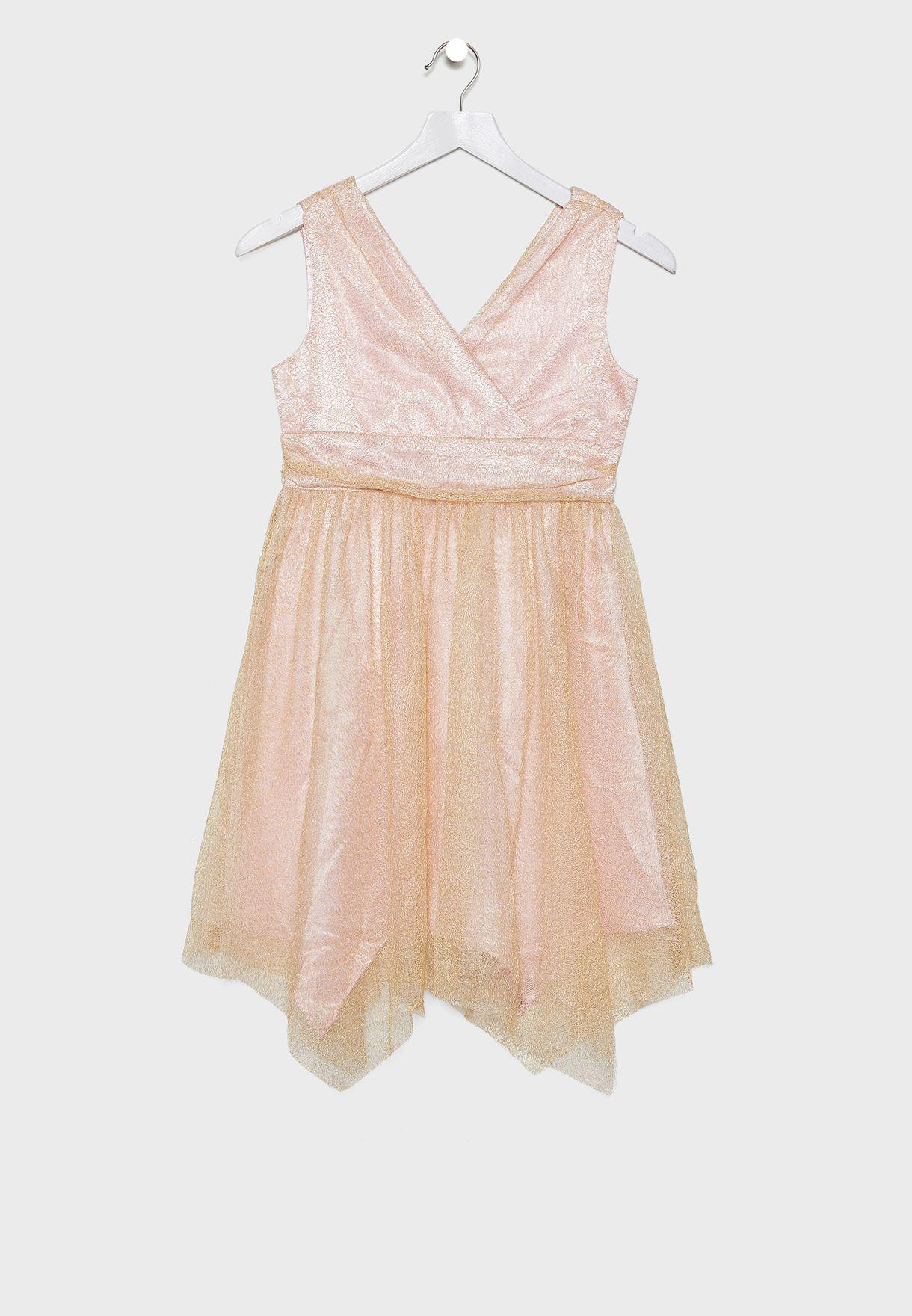 Kids Pleated Asymmetric Dress