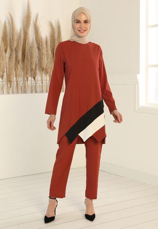 Colorblock Tunic Top & Pants Set