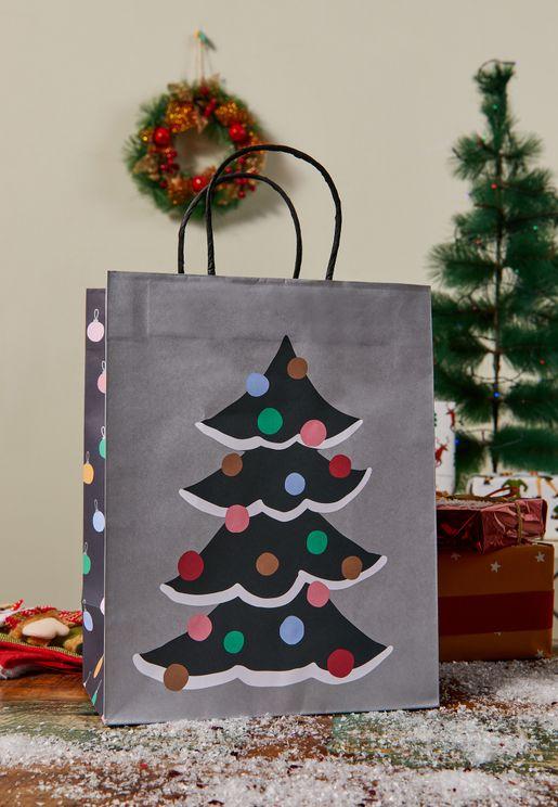 شنطة هدايا بطباعة كريسماس