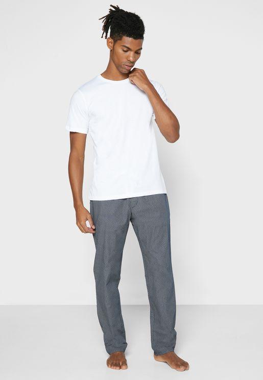 T-Shirt & Printed Bottoms Pyjama Set