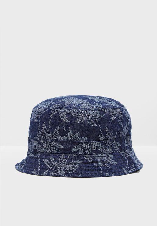 Maple Leaf Print Bucket Hat
