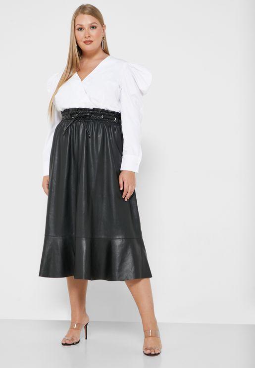 Elastic Waist Midi PU Skirts