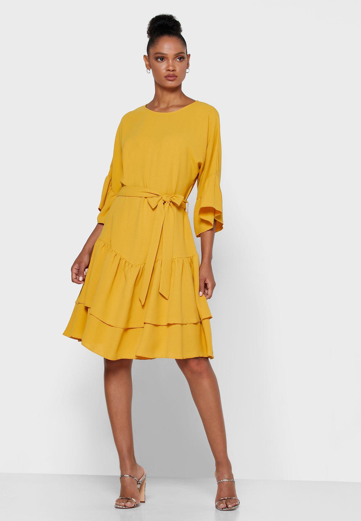 Buy Ginger Yellow Tiered Ruffle Trim Mini Dress For Women, Uae 11096at24mip