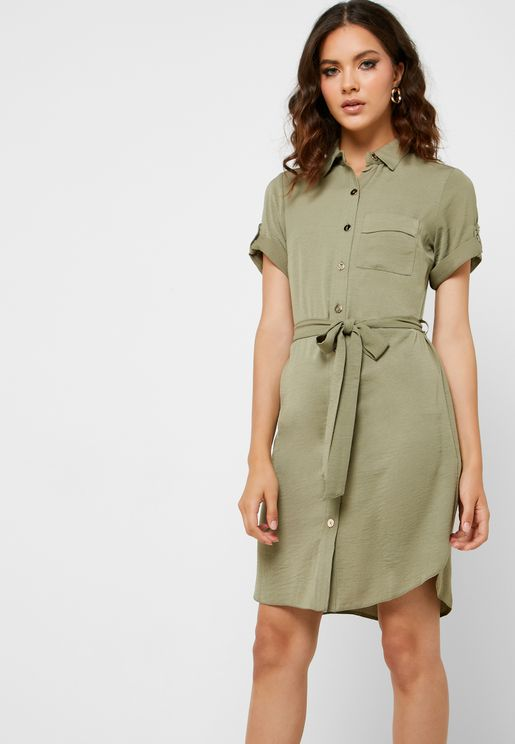 Tie Waist Roll Sleeve Shirt Dress