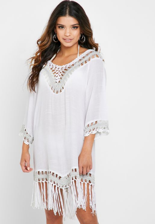 Crochet Detail Beach Kaftan