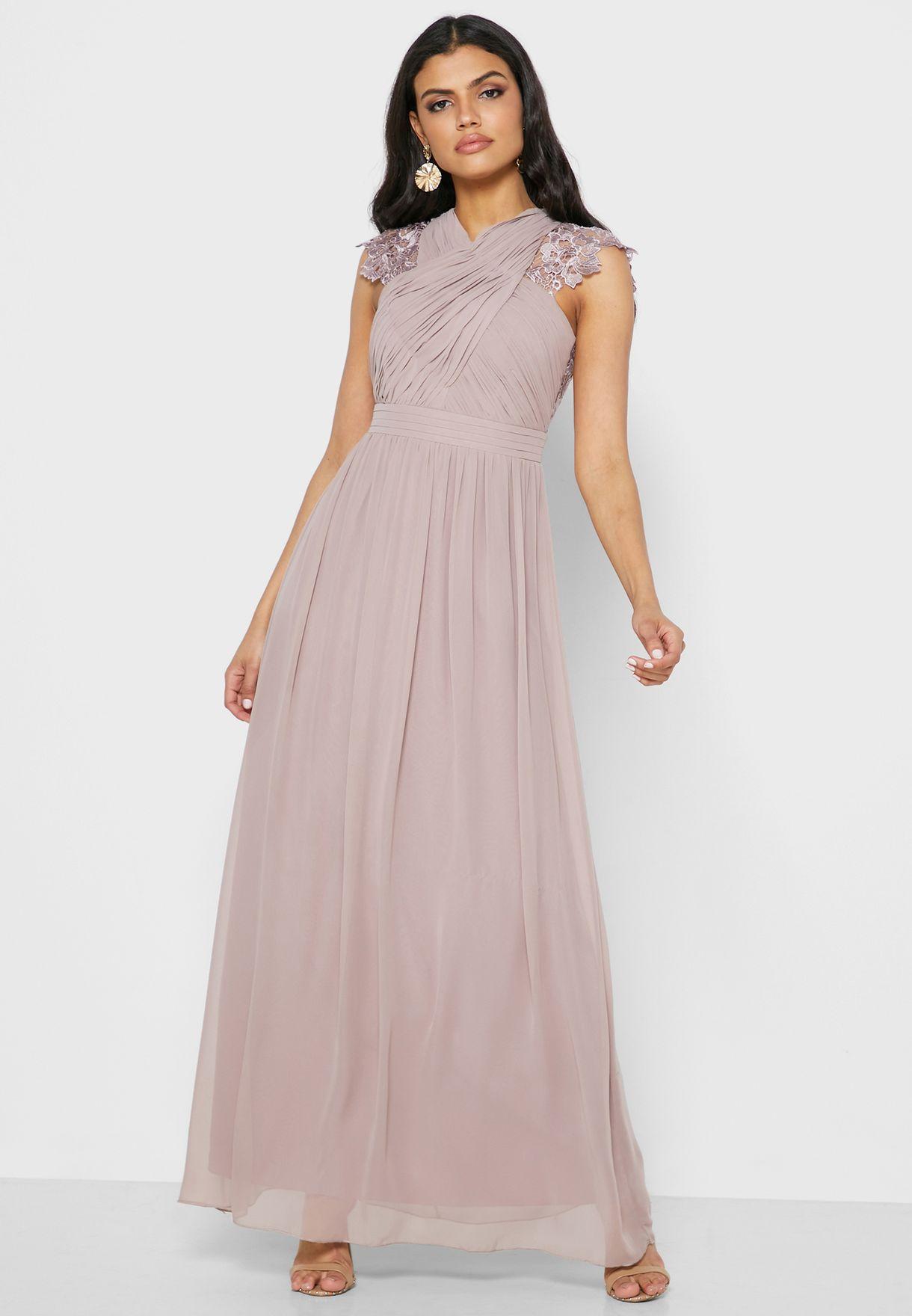 Lace Trim Cut Out Back Wrap Dress