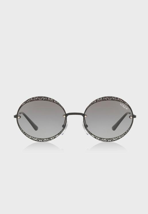 0VO4118S  Metallic Lace Round Sunglasses