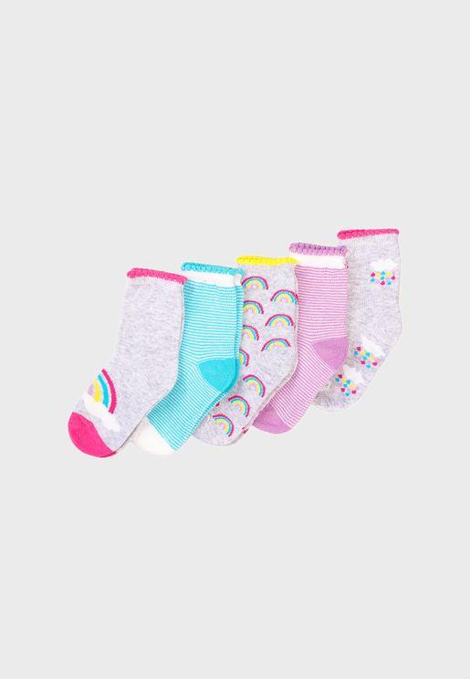 Kids 5 Pack Rainbows Socks
