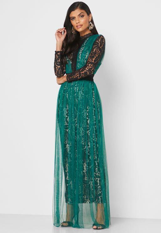 فستان دانتيل باجزاء شبك