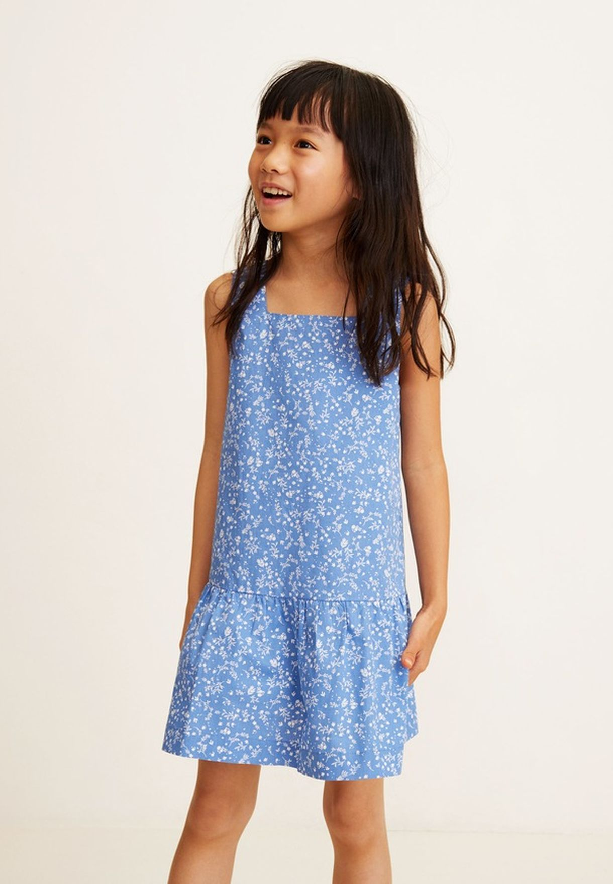 78b2683b1f2 Shop Mango blue Kids Laia Printed Dress 43005764 for Kids in Kuwait -  18840AT24HSP