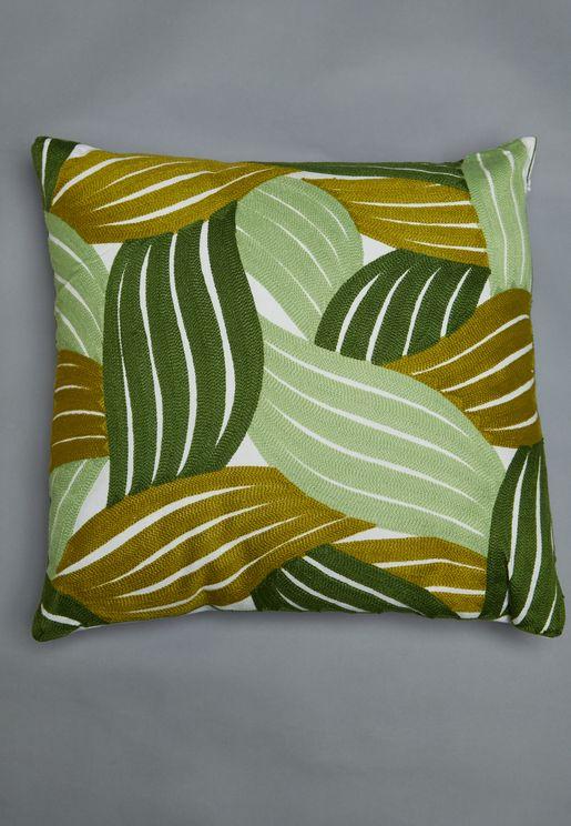 Leaf Print Cushion With Insert 45X45Cm