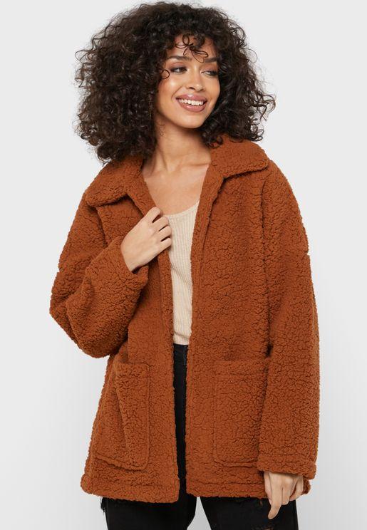 Open Front Teddy Coat