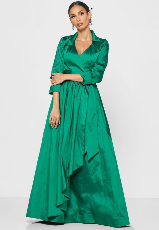 فستان مكسي بنمط لف واربطة