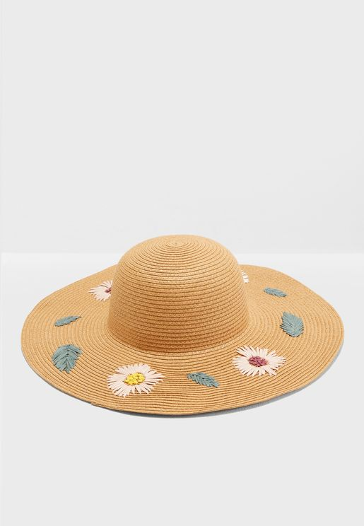 Floral Embroidery Wide Brim Straw Hat