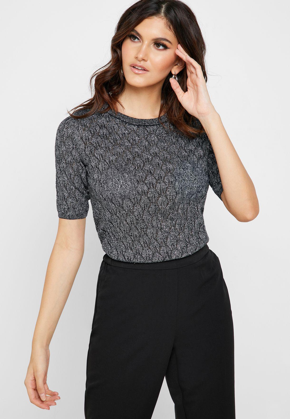 Short Sleeve Openwork Sweater