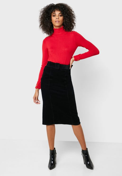 Co-Ord Belted Midi Skirt