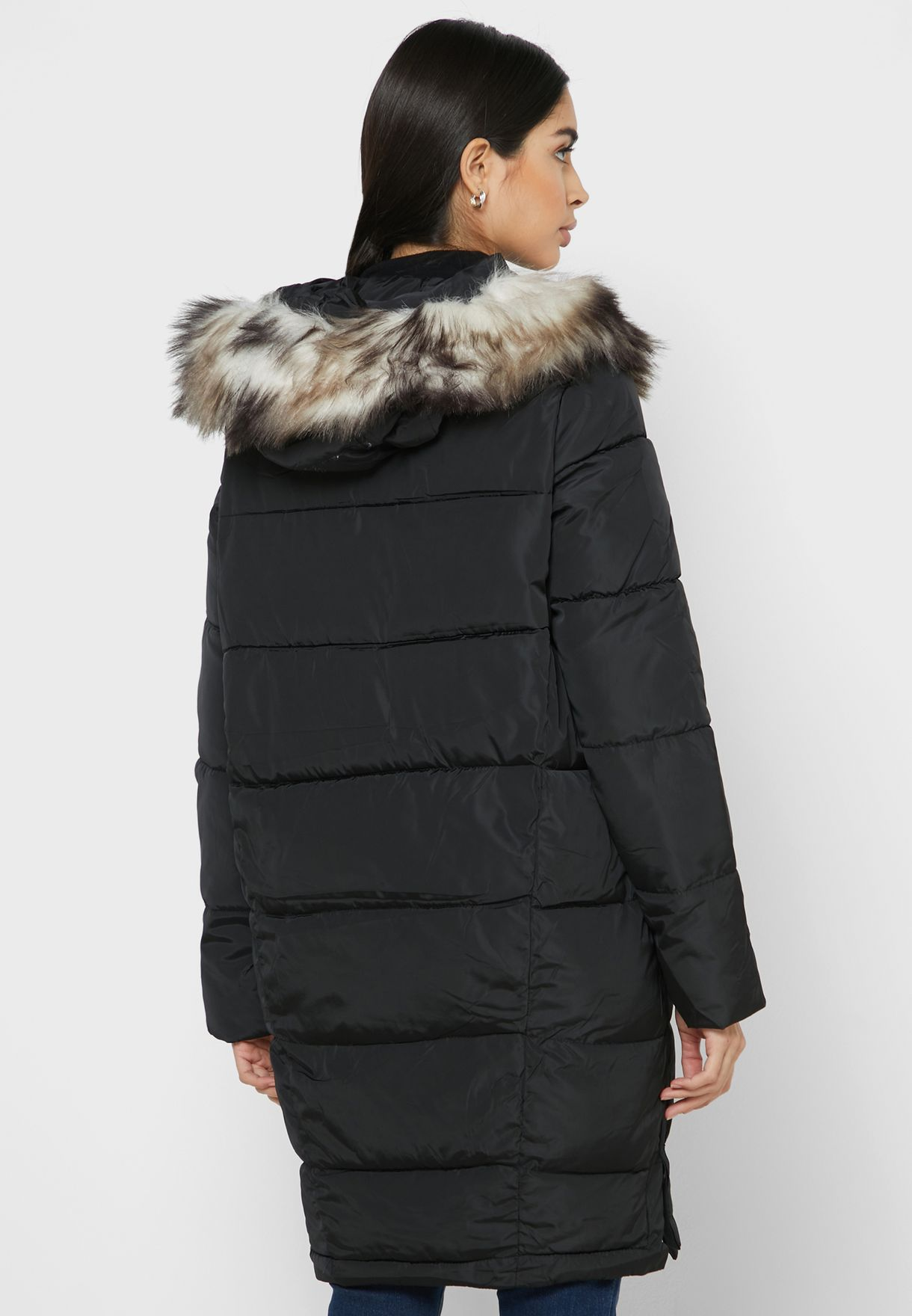 Faux Fur Zip Detail Puffer Jacket