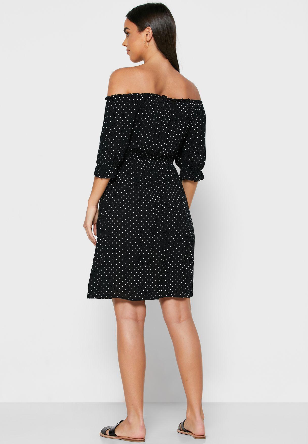 Ruched Waist Bardot Dress