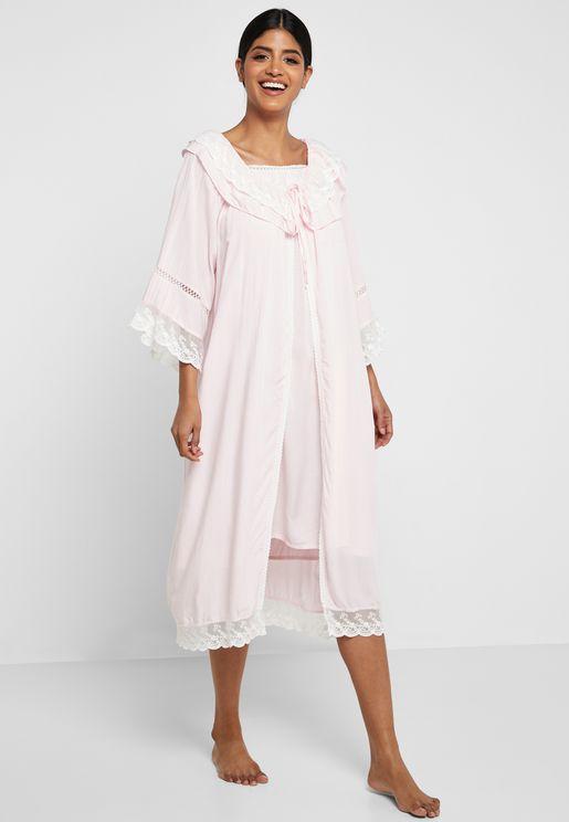 2 In 1 Lace Trim Nightdress Robe