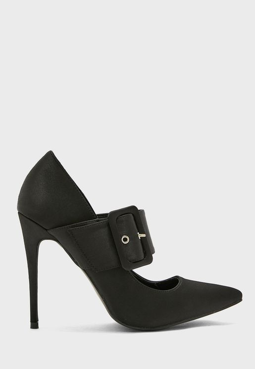 Oversized Buckle Detail Pointed Stiletto Pump