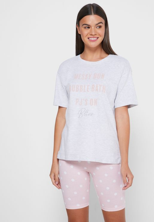 Messy Bun T-Shirt & Cycling Shorts Set