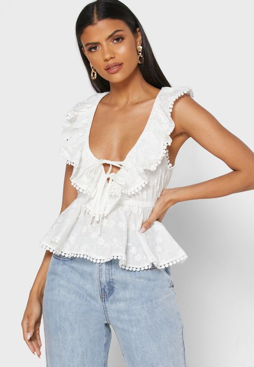 Plunge Ruffle Detail Top