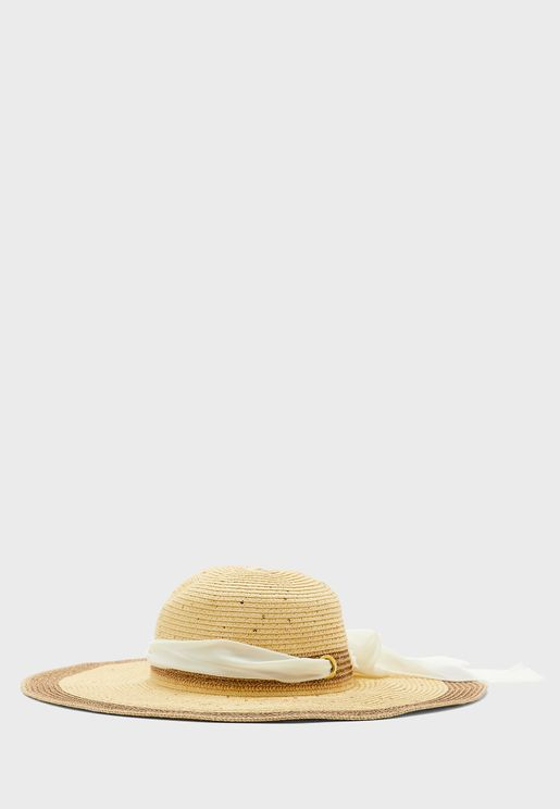 Straw Floopy Hat With Coloured Trim