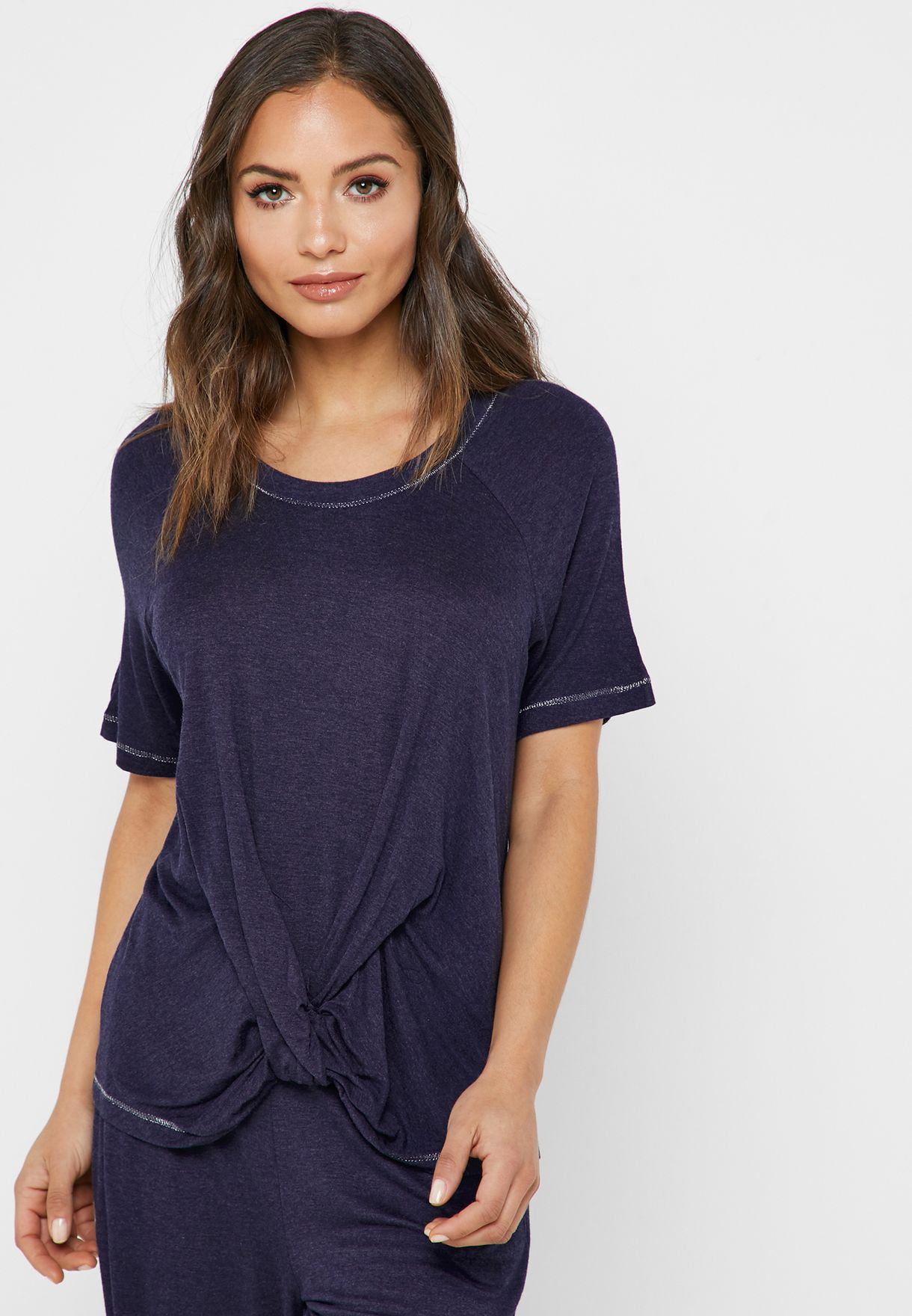a985ba80f3bbb Shop Dorothy Perkins navy Twisted Front Lounge Top 33200307 for ...