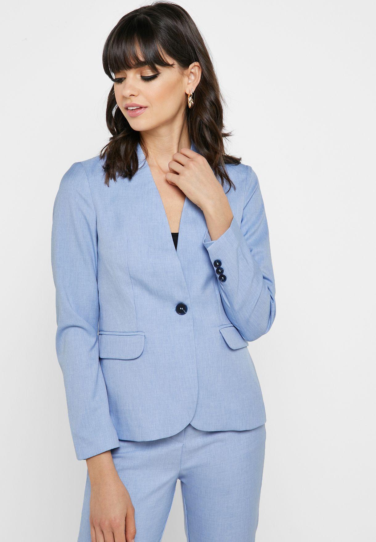 1599d87ed3091 Shop Koton blue Button Detail Blazer 9YAK52907UW for Women in Saudi ...