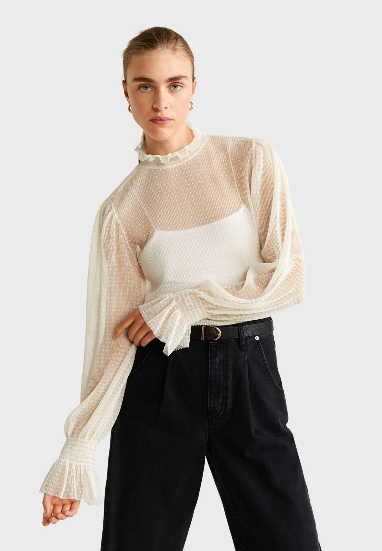 Ruffle Trim Sheer Top