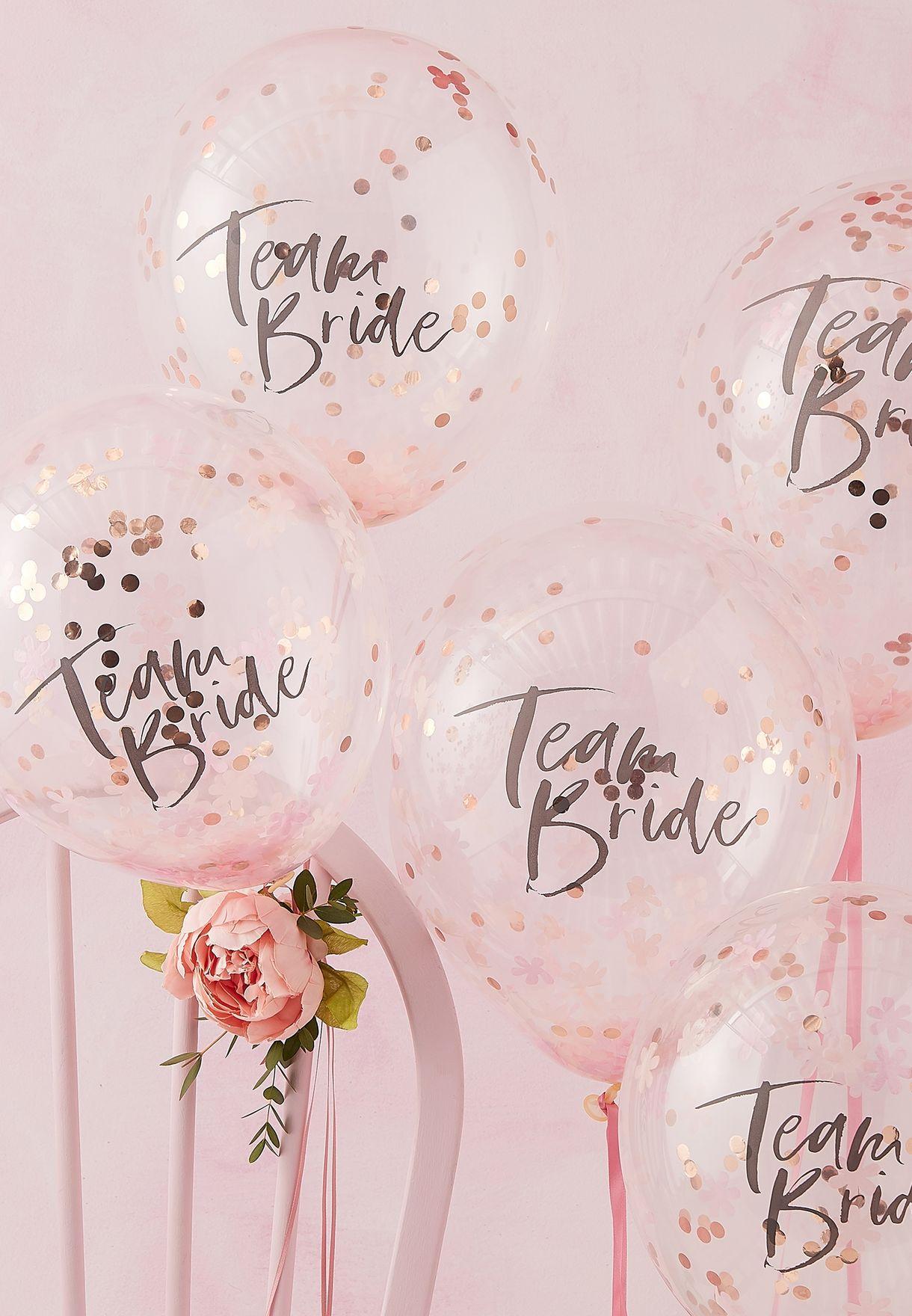 Confetti Balloons Team Bride 5 Pack