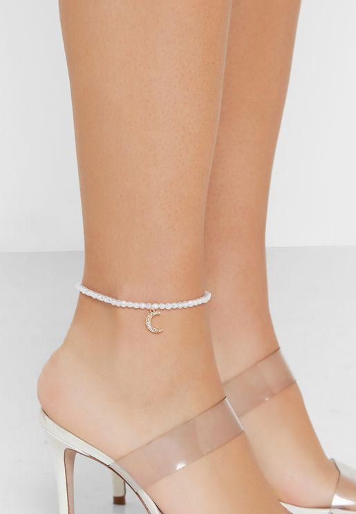 Pearl Anklet With Moon Charm