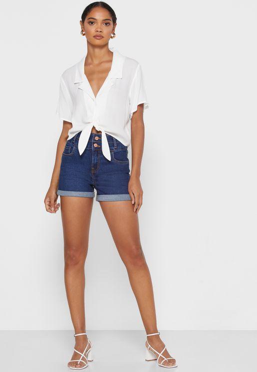 Roll Hem High Waist Denim Shorts