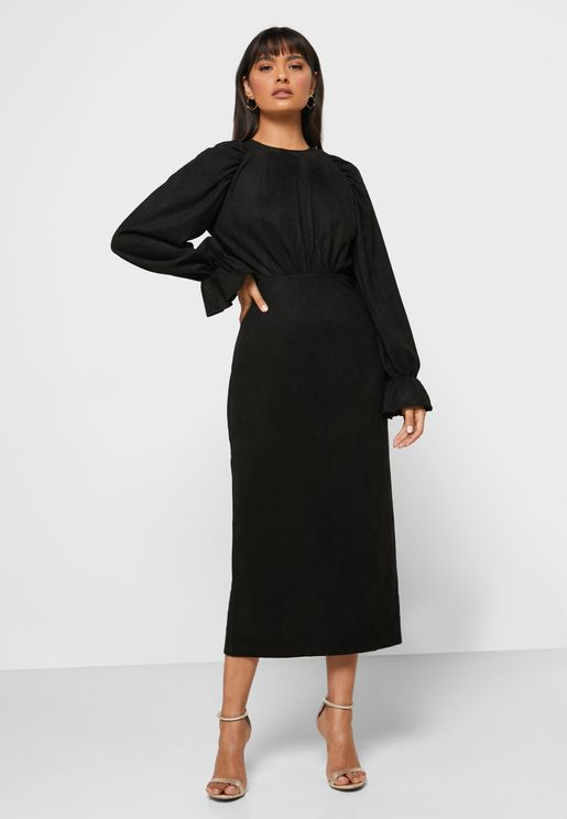 Statement Sleeve Midi Dress