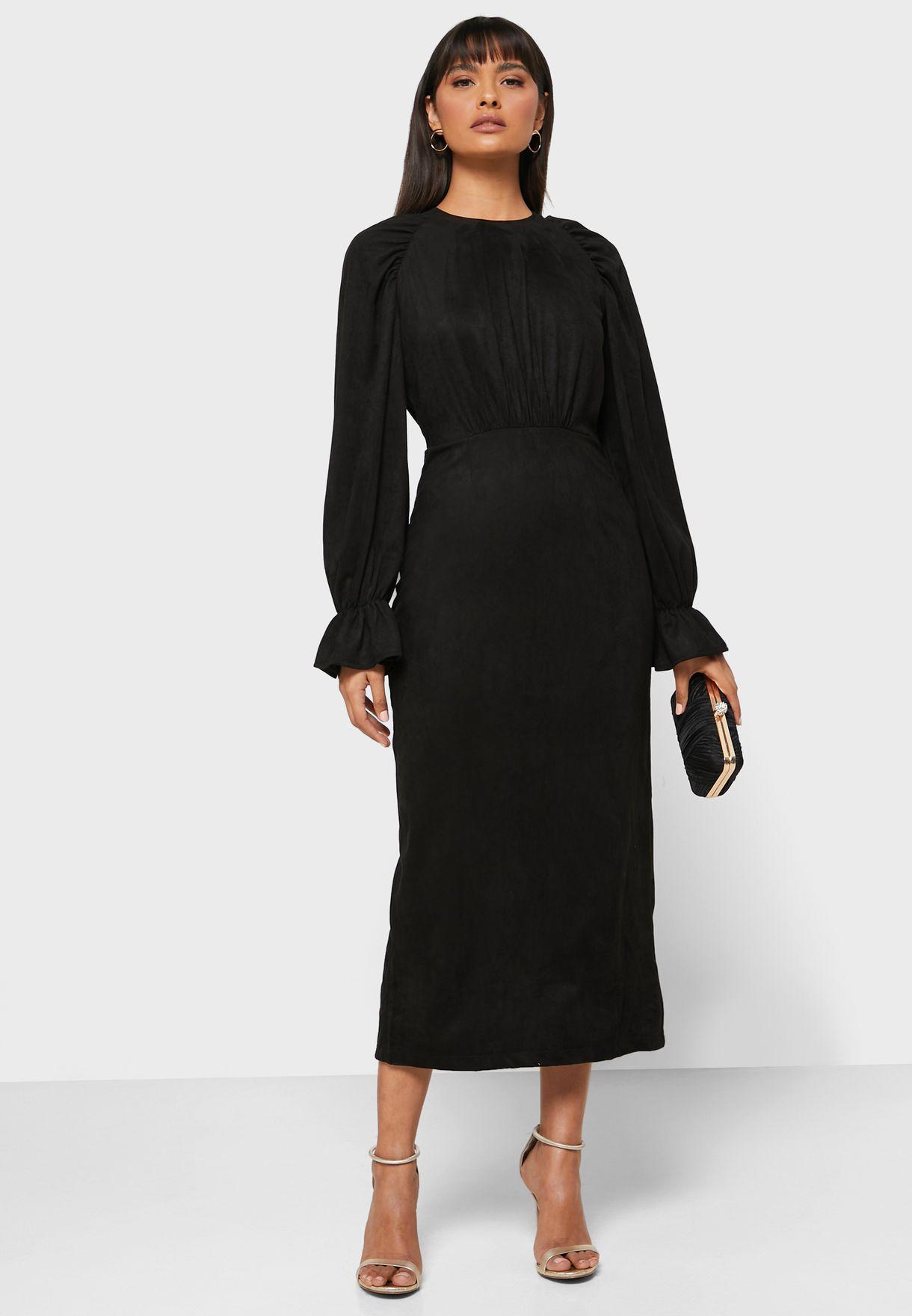 Statement Sleeve Midi Dress