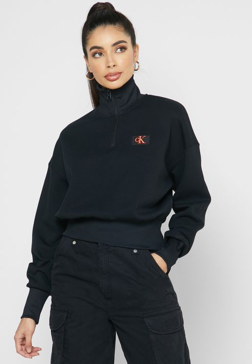 High Neck Zip Detail Logo Sweatshirt