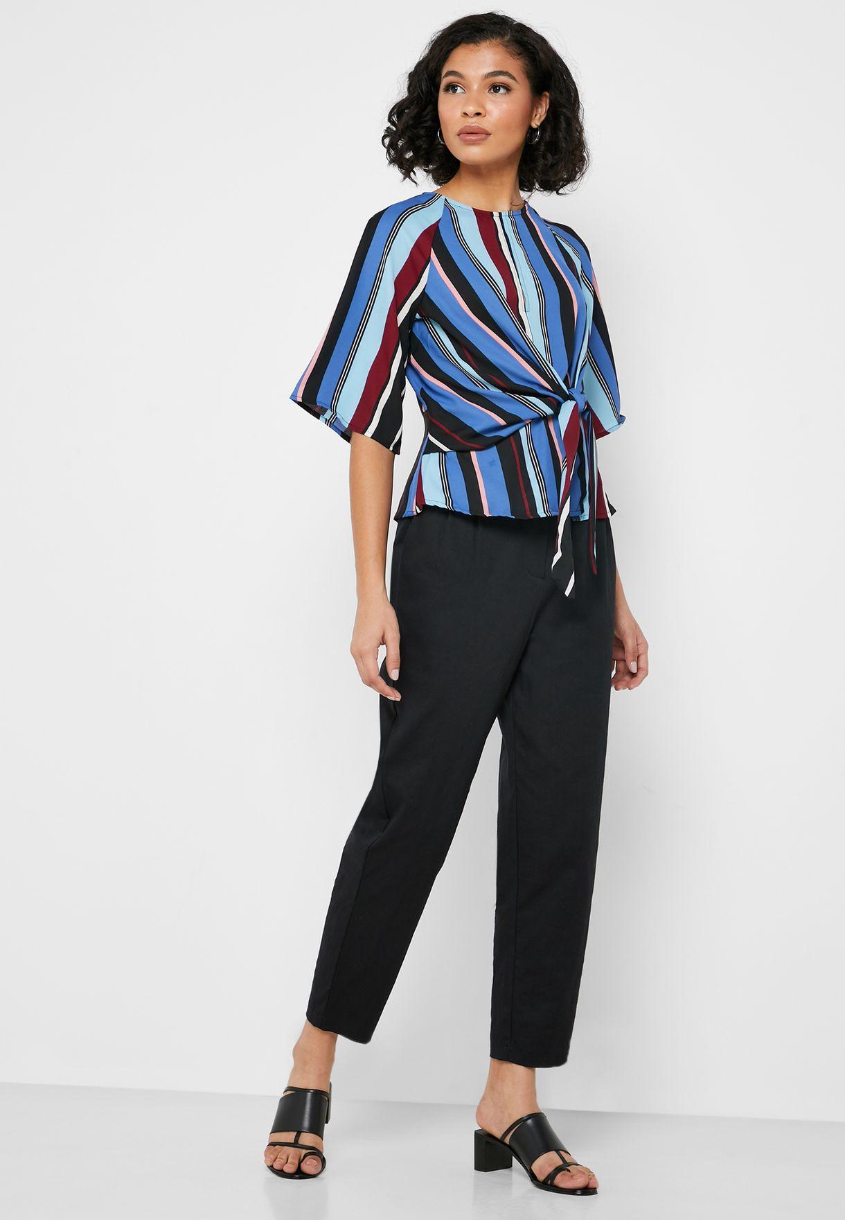 Side Tie Striped Top