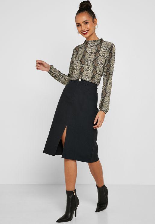Contrast Stitched Midi Skirt