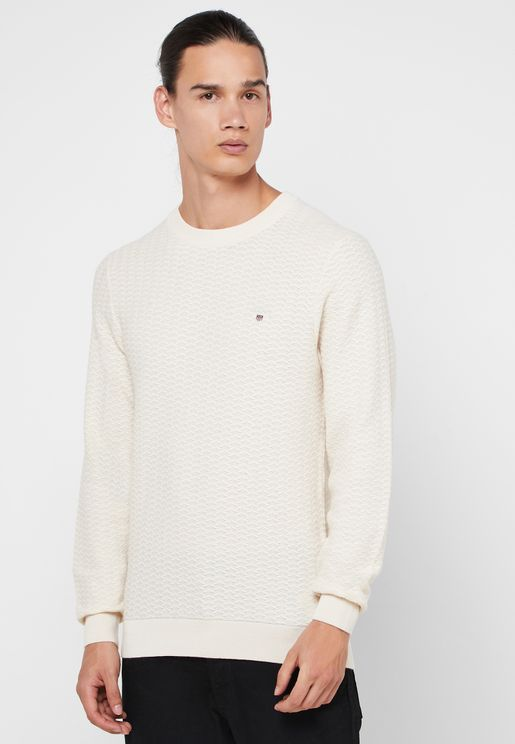 Herringbone Textured Crew Neck Sweater