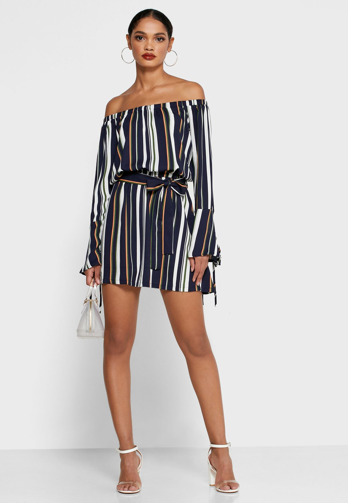 Striped Flute Sleeve Dress
