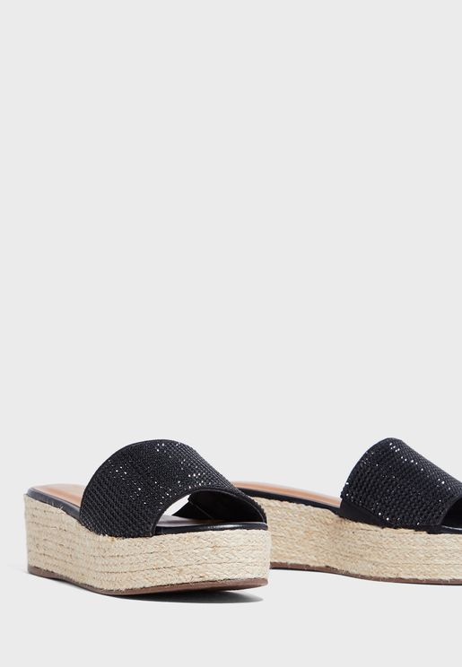Wide Strap Mid Heel Wedge Sandal
