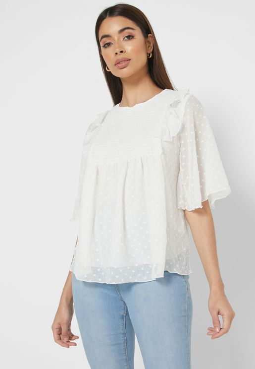 Ruffle Trim Shirred Top