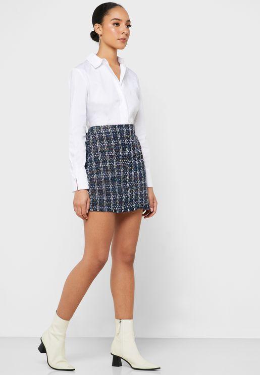 Raw Hem Checked Skirt