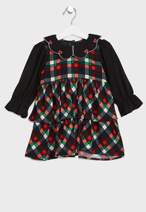 Detailed Top Checked Pinafore Dress