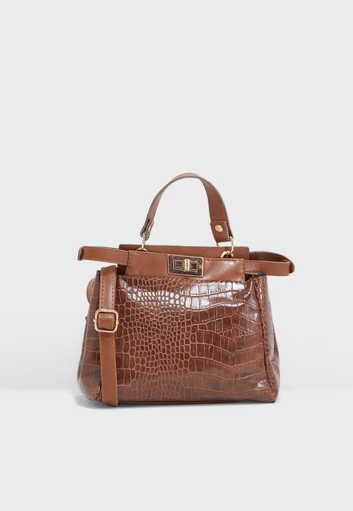 Satchel Bag In Mock Croc