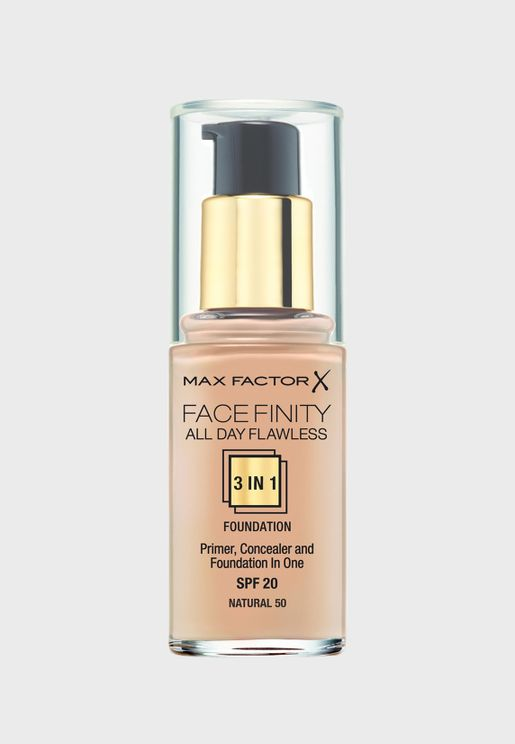 3-in-1 Flawless Liquid Foundation- 50 Natural